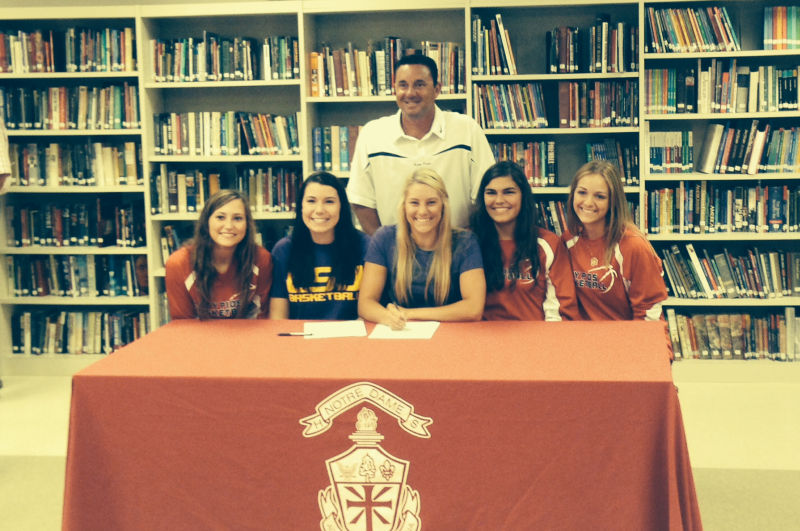 2nd LADY PILOTS SIGN TWO NOTRE DAME HIGH SCHOOL STANDOUTS Photo