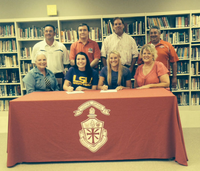 3rd LADY PILOTS SIGN TWO NOTRE DAME HIGH SCHOOL STANDOUTS Photo